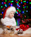 Free Funny Baby Santa Claus On Bright Background Royalty Free Stock Images - 26534329