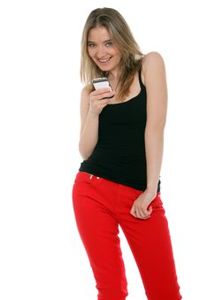 Free Happy Woman Sending A Text Message Stock Images - 26531994