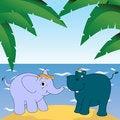Free Elephant And Hippopotamus Stock Image - 26546341