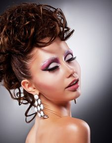 Free Fashion Beauty Model Girl - Posh Makeup Royalty Free Stock Photos - 26541508