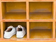 Shoes, Boots Stand On A Rack Stock Images