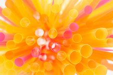 Multicolored Drinking Straws Stock Photography