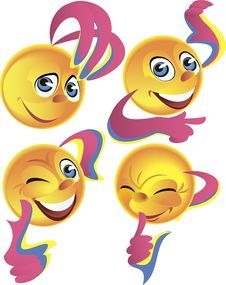 Four Cheerful Smileys Royalty Free Stock Images