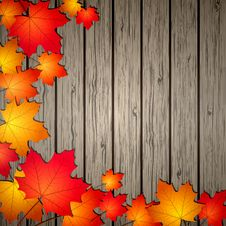 Free Autumn Leaves Over Wooden Background. Stock Images - 26546884