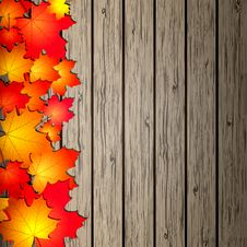 Free Autumn Leaves Over Wooden Background. Royalty Free Stock Photo - 26547025