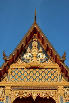 Free Thai Buddhist Church - Front Face View Stock Photography - 26549062