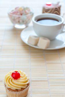 Tea And Various Cake, Sweet Dessert Stock Photos