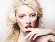 Free Beauty Style - Shiny Model Blonde Girl Face Stock Image - 26556171