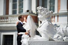 Free Bride And Groom Near Sculpture Of Female Lion Stock Photo - 26560460