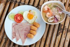 Free Plate With Classic Breakfast On A Bamboo Table Stock Images - 26561414