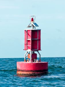 Free Floating Red Buoy At Mid Of Sea Stock Images - 26561794