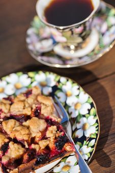 Plum Cake And Coffee Royalty Free Stock Photo