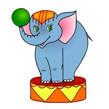 Free Cartoon Elephant Circus Royalty Free Stock Image - 26567886