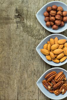 Almonds, Hazelnuts And Pecans Stock Images
