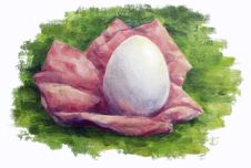 Free Egg On The Grass Oil Painting Royalty Free Stock Image - 26575946