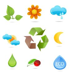 Glass Green Nature Ecological Symbols Set Royalty Free Stock Photo