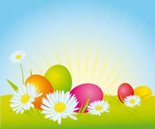Free Easter Eggs On Meadow Royalty Free Stock Image - 26579116