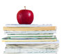 Free Book Stack With Fresh Red Apple On Top Royalty Free Stock Image - 26582926