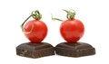 Free Fresh Tomatoes ,cherry On Dark Chocolate Royalty Free Stock Photo - 26586345