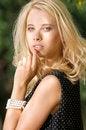Free Blond Wonam In The Garden Royalty Free Stock Photo - 26588785