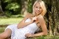 Free Blond Wonam In The Garden Stock Photography - 26588902
