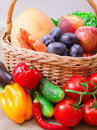 Free Fruits And Vegetables In Basket Stock Photos - 26589513