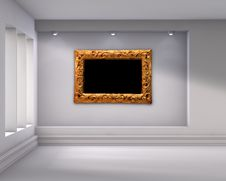 Free Niche With Spotlights And Picture Frame Royalty Free Stock Photography - 26584307