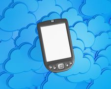 3d Mobile Phone With Clouds Stock Images