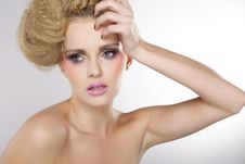 Free Young Pretty Woman With Beautiful Blond Hairs Royalty Free Stock Photography - 26588947