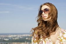 Free Beautiful Girl In Sunglasses On Blue Sky Stock Photo - 26589400