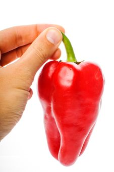 Hand With Big Red Pepper Royalty Free Stock Photos