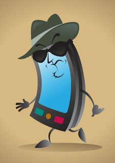 Free Sinister Cell Phone Character Royalty Free Stock Photography - 26592667
