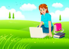 Free Girl With Laptop On Meadow Stock Photography - 26592862