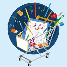 Free Shopping Cart With School Supplies Stock Photos - 26593333