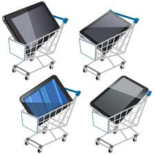 Free Shopping Cart With Tablet Stock Image - 26593431