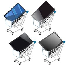 Free Shopping Shopping Cart With Flat Screen TV Stock Photography - 26593452