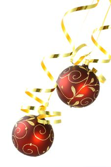 Free Two Red Christmas Balls On White Royalty Free Stock Images - 26593699