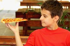 Free A Boy Eating Pizza Royalty Free Stock Photos - 26594798