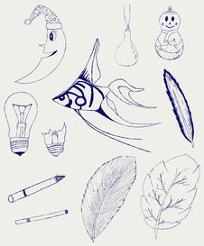 Free Set Of Hand-drawn Design Elements Royalty Free Stock Image - 26595846