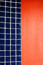 Free Blue Tile Red Wall Royalty Free Stock Photos - 2662168
