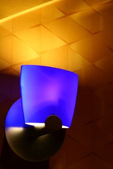 Free Blue Lamp Gold Wall Royalty Free Stock Photos - 2663338