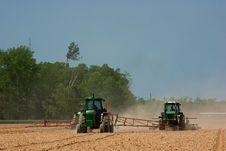 Farmers Plowing The Field Royalty Free Stock Photos
