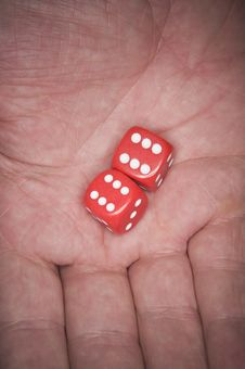Free Lucky Dice In Hand Royalty Free Stock Image - 2667246