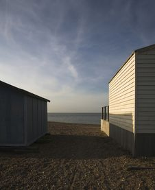 Free English Seaside Huts Royalty Free Stock Image - 2667406