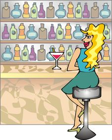 Free Blond Girl In A Bar Royalty Free Stock Photo - 2669185