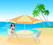 Free Attractive Girl On Beach Royalty Free Stock Image - 2669436