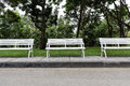 Free White Chairs In The Garden. Stock Photography - 26600962