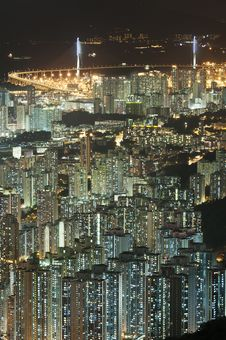 Hong Kong City Night Stock Photos