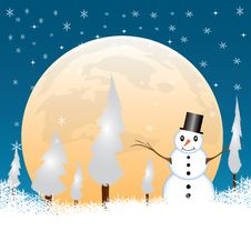 Free Snowman In A Full Moon Night Stock Photography - 26609072