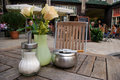 Free Ashtray On Outdoor Bar Table. Stock Photography - 26613572